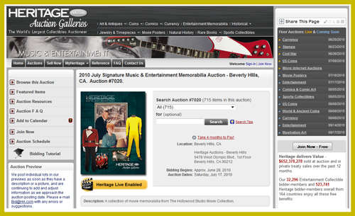 "Heritage Auction Galleries July 2010 ""Signature Music & Entertainment Memorabilia Auction″ Catalog Available Online"