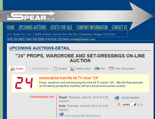 "RL Spear Co. Offering Props, Wardrobe, and Set Dressing from Fox's ""24"" Television Series"