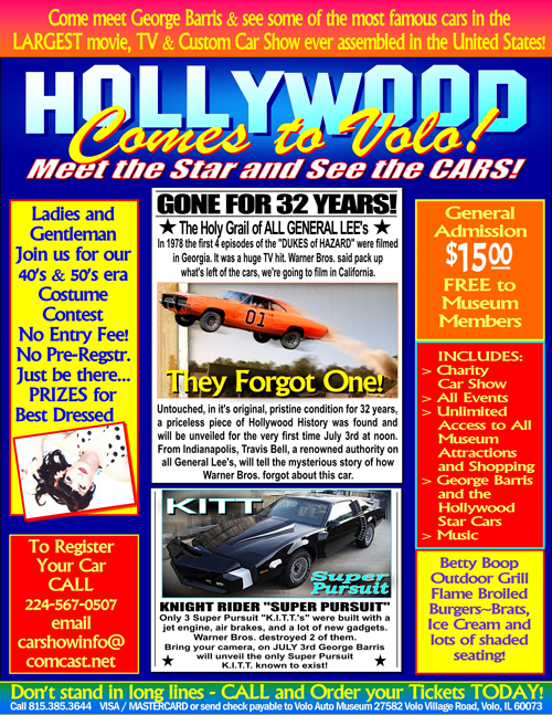 Volo Auto Museum: George Barris Star Cars Charity Car Show & Auto Fair on July 3rd in Volo, IL
