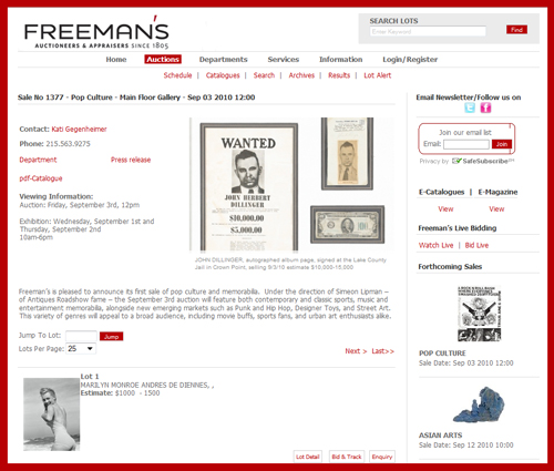 Catalog Available Online for Freeman's Auctioneers Pop Culture and Memorabilia Auction in September