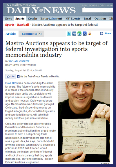 New York Daily News Coverage Updates Ongoing FBI Sports Memorabilia Fraud Investigation