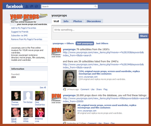 "YourProps Expanding ""Online Museum"" Through Social Networking With Regular Facebook Updates About TV & Movie Props"