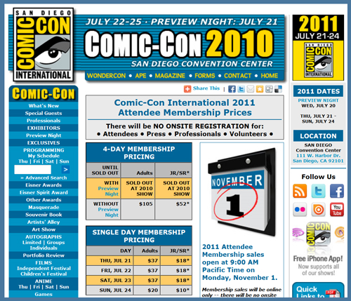 San Diego Comic Con International 2011 Membership Passes/Tickets Go On Sale November 1st