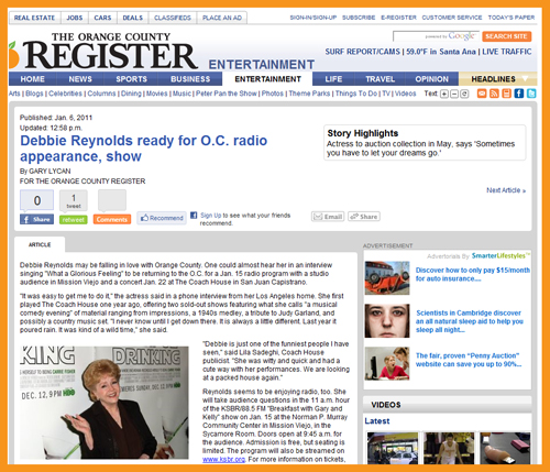 Orange County Register: Debbie Reynolds' Hollywood Memorabilia Collection To Be Sold By Profiles in History in May 2011