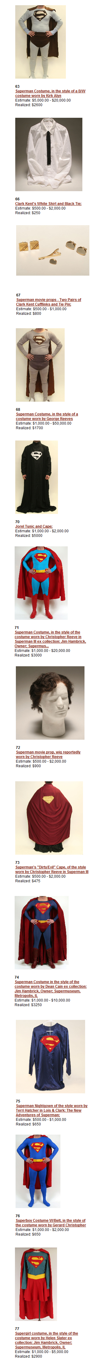 """Museum Collection of Superhero Memorabilia"" Superman Costume Auction Results"
