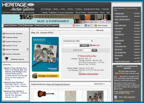 "Heritage Auction Galleries February 2011 ""Signature Music & Entertainment Memorabilia Auction″ Catalog Available Online"