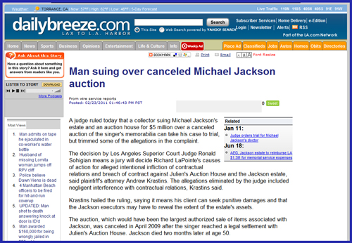 Update on Collector Lawsuit Against Julien's Auctions Over Canceled Michael Jackson Memorabilia Sale Event