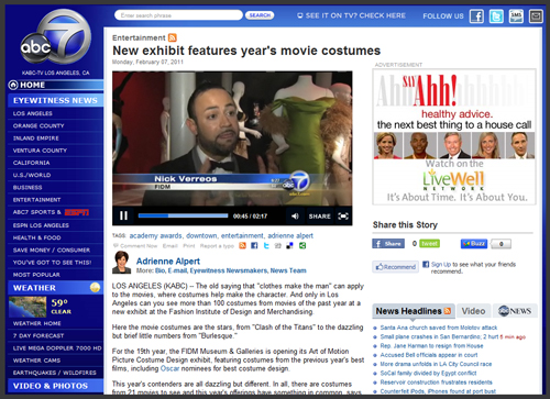 "ABC News Coverage of FIDM ""19th Annual Art of Motion Picture Costume Design"" Wardrobe Museum Exhibit"
