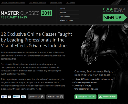 "Gnomon Workshop School of Visual Effect – ""Master Classes 2011"" Online February 11th – 25th"