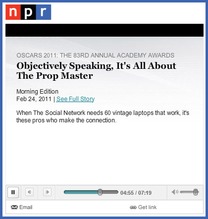 Story About Prop Masters on National Public Radio (NPR) Academy Awards Feature