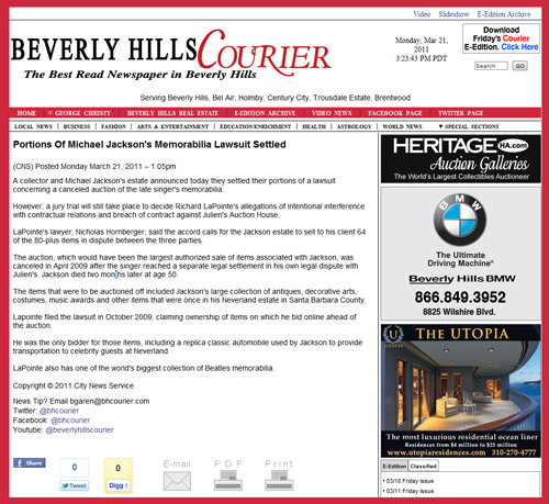 Beverly Hills Courier Reports on Partial Settlement of Michael Jackson Memorabilia Lawsuit with Collector Richard LaPointe