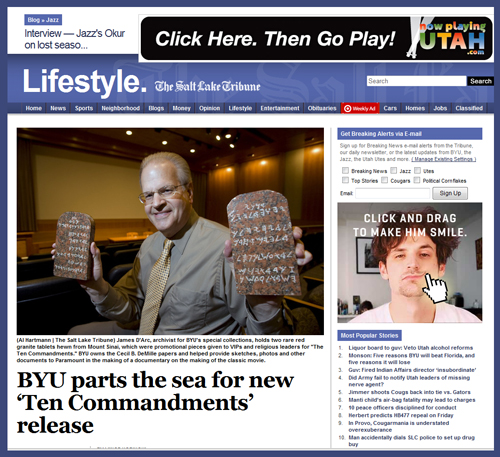 Salt Lake Tribune Details Role of BYU in Cecil B. DeMille 'Ten Commandments' Film Archive, Contribution to Blu-Ray Release