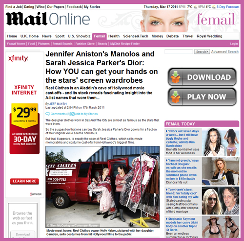 Holly Haber and Lennard Billin of Reel Clothes & Props Featured in UK's Daily Mail Article