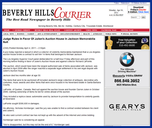 "Beverly Hills Courier Reports ""Judge Rules In Favor of Julien's Auction House"" in Lawsuit Brought By Michael Jackson Memorabilia Collector Richard LaPointe"