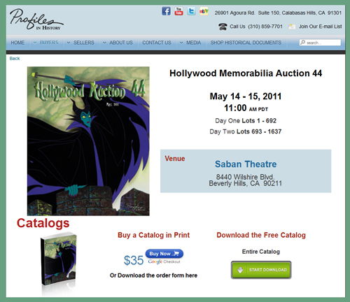 Profiles in History 'Hollywood Auction 44′ TV & Movie Prop Auction Catalog Available Online for Sale Event May 14th & 15th