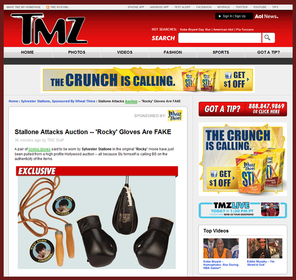 "TMZ Reports on Cease & Desist Sent to Profiles in History Over ""Rocky"" Boxing Gloves; Sylvester Stallone Claims They Are Not Authentic"