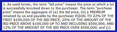 Auction House Buyer's Premiums: On The Rise (Revisited Three Years Later – 2011 Update)