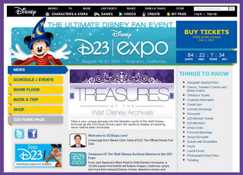 "Second ""D23 Expo"" at Anaheim Convention Center in August 2011 to Again Feature ""Treasures of the Walt Disney Archives"""