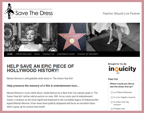 "'Save The Dress' Campaign to Crowdsource Funds from Public for Marilyn Monroe 'Seven Year Itch' Dress Auction; ""Refund of Contributions… Impractical"""