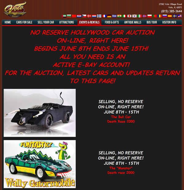 Volo Auto Museum Hollywood Car Auction June 8th-15th