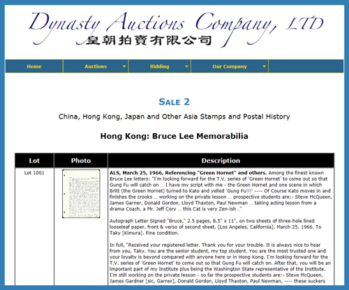 Dynasty Auctions Company Offers Bruce Lee Memorabilia at Hong Kong Auction Event August 5-7