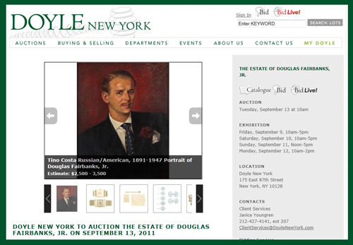 "Doyle New York Holding ""The Estate of Douglas Fairbanks, Jr."" Auction September 13th"