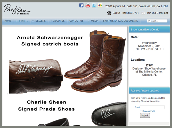 "Profiles in History, Planet Hollywood, Designer Shoe Warehouse to Hold ""Shoemania"" Celebrity Memorabilia Charity Auction"
