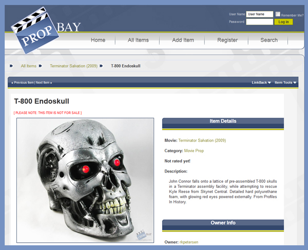 "Hobbyist Collector Launches ""PROPbay"" Online Museum and Marketplace to Auction, Buy, Sell, & Trade TV and Movie Props and Costumes"