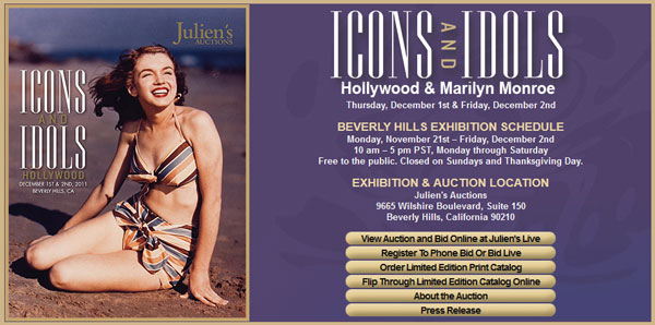 Julien's Auctions 'Icons and Idols' (Hollywood & Marilyn Monroe, Sports & Rock 'n Roll) Catalogs Online, Events to be Held in Beverly Hills December 1st-4th