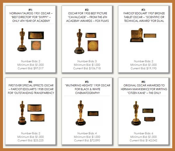 Nate D Sanders Auction Offers the Sale of Fourteen Academy Award Oscar Statues, to be Sold February 28th