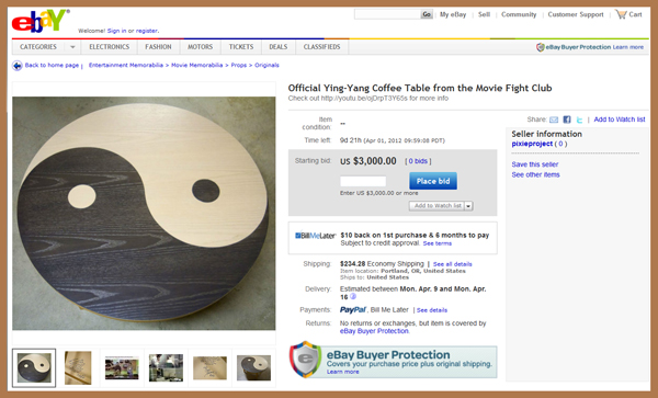 "Author Chuck Palahnuik's Faux Ikea ""Ying Yang"" Movie Prop Table from Fight Club Donated for Charity Auction Supporting The Pixie Project"