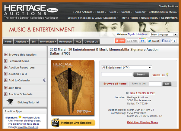 "Heritage Auction Galleries ""Entertainment & Music Memorabilia Signature Auction″ Catalog Online, Dallas Event March 30th"