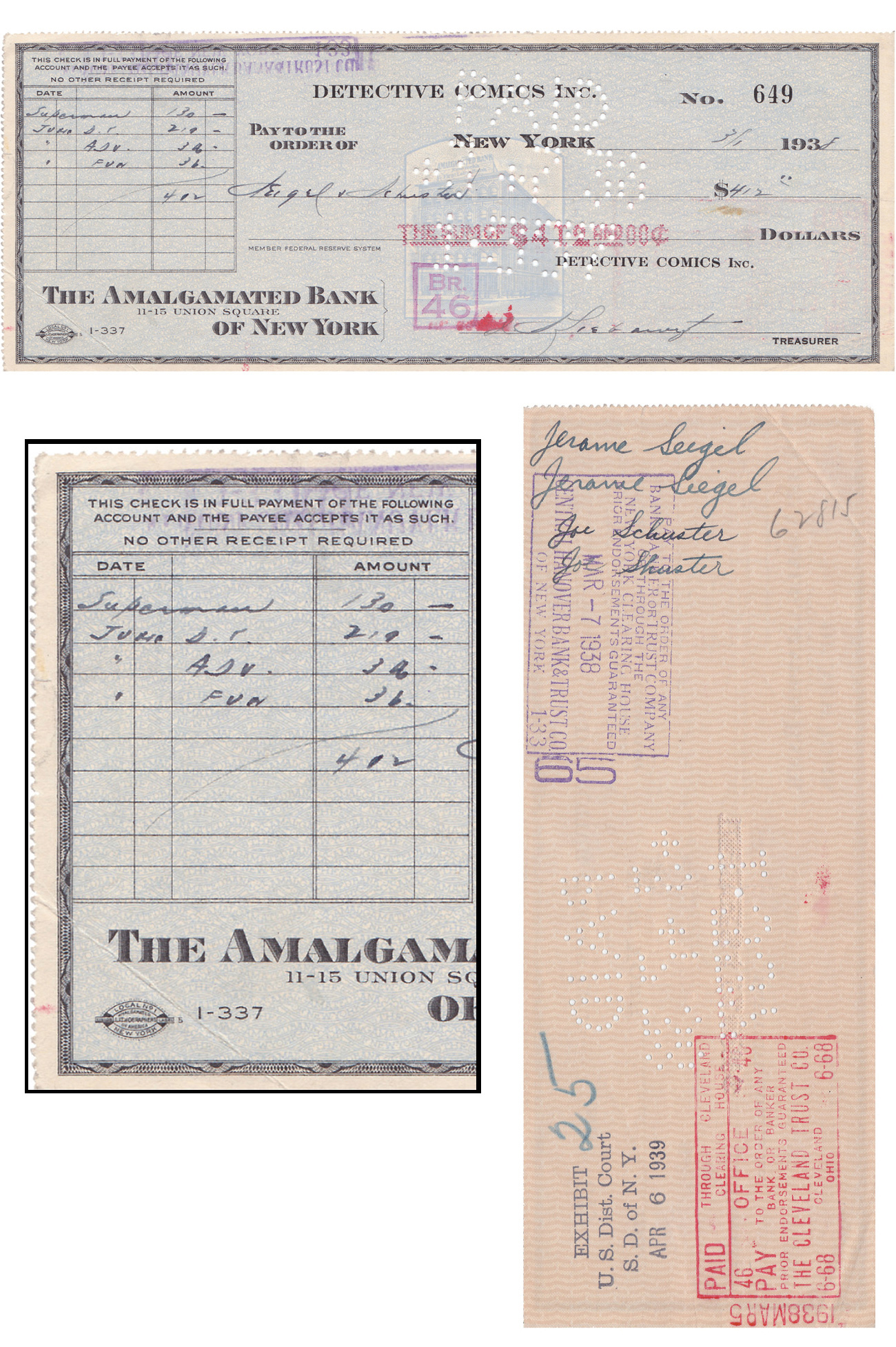 """The Check That Bought Superman"" at Auction (1938 Payment Made by DC Comics to Siegel & Shuster for Character Ownership)"