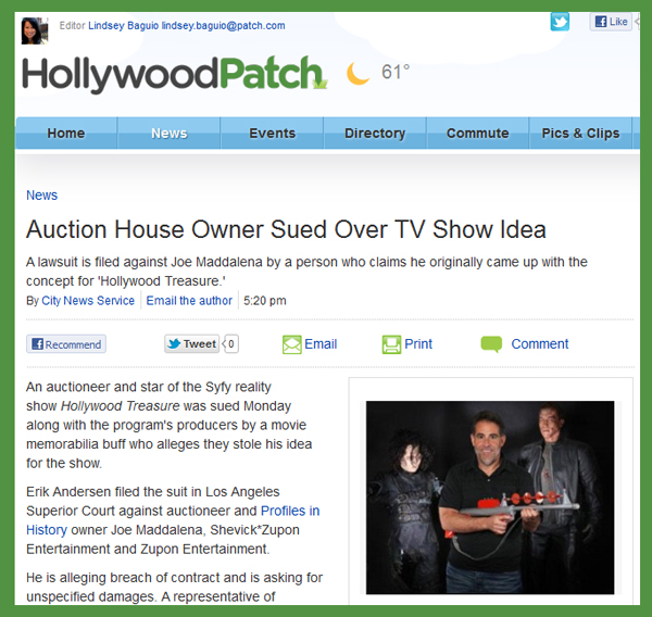 HollywoodPatch Reports Lawsuit Filed Against Profiles in History Over Hollywood Treasure TV Show Concept
