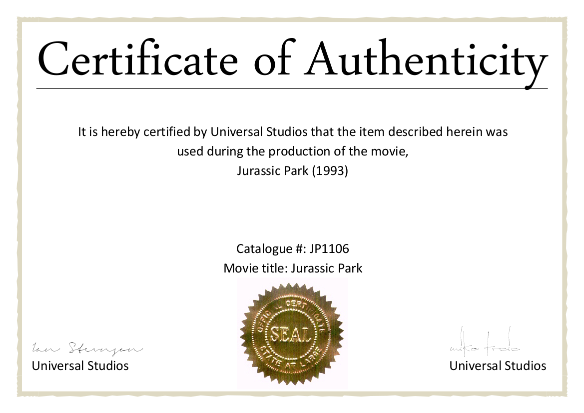 Certificate Of Authenticity Sample