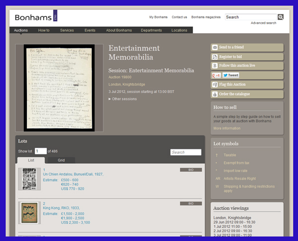 Bonhams Entertainment Memorabilia Auction to be Held in London on July 3rd, Catalog Available Online