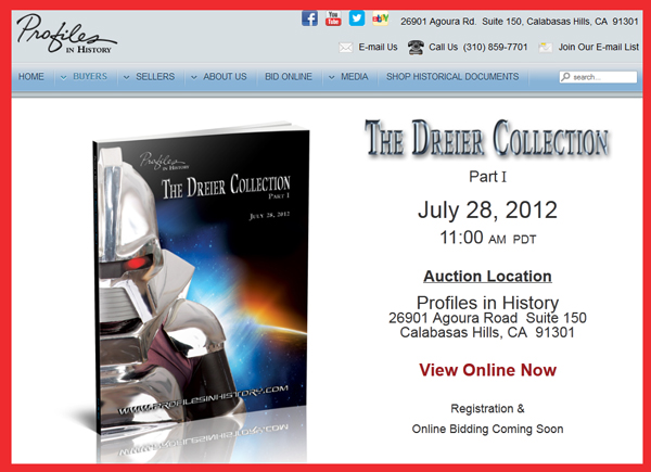 Profiles in History 'Dreier Collection, Part 1′ TV & Movie Prop Catalog Available Online for Sale Event July 28th