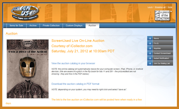 ScreenUsed To Hold First Online Auction on July 21st, Catalog Available Online