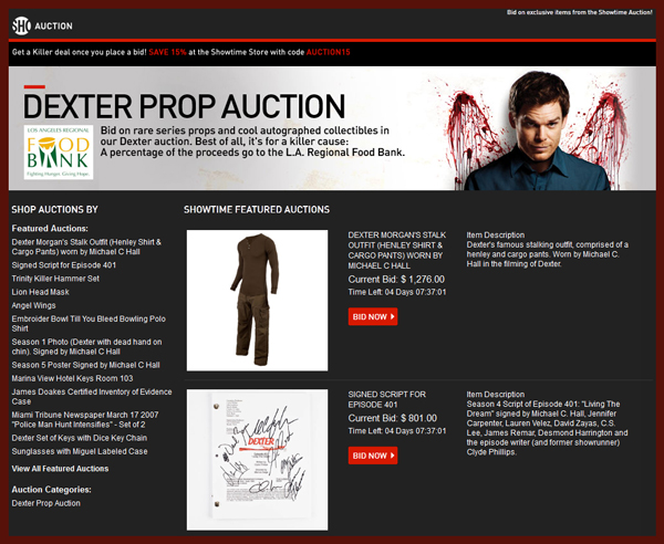 "Showtime Launches New Set of ""Dexter"" Charity Auctions Offering Original Props from the Popular Television Program"