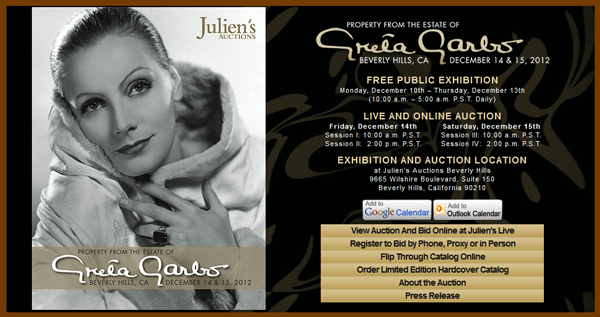 Julien's Auctions 'Property from the Estate of Greta Garbo' Catalog Online, Event to be Held in Beverly Hills December 14th-15th