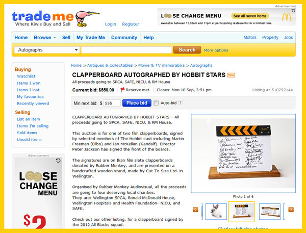 Set of Two Clapperboards Signed By 'The Hobbit' Cast/Crew, Peter Jackson, At Rubber Monkey Charity Auction