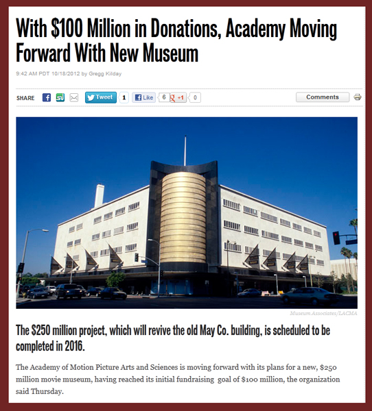 Hollywood Reporter Update with News on AMPAS Hollywood History Museum