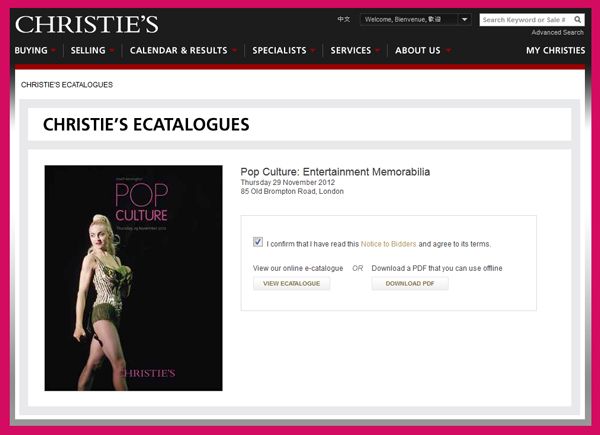 "Christie's ""Pop Culture: Entertainment Memorabilia"" Live Auction November 29th, eCatalogue and PDF Catalog Online"