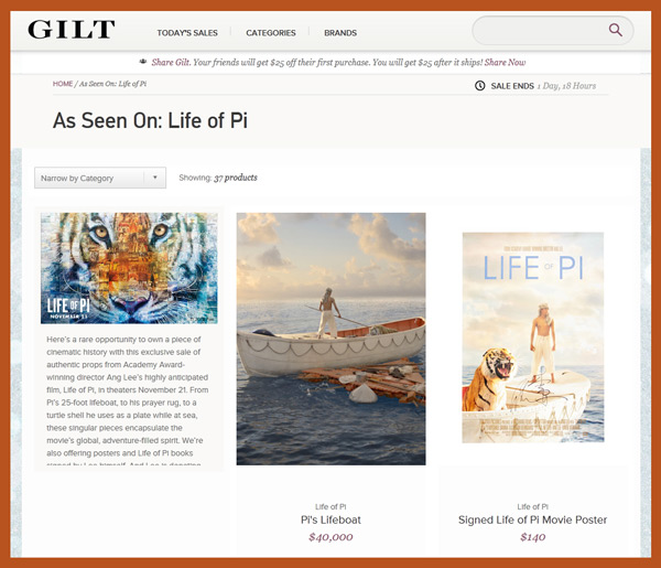 Gilt Groupe Offers Sale of Authentic Memorabilia from Ang Lee's 'Life of Pi'; Proceeds Benefit the Orangutan Foundation International