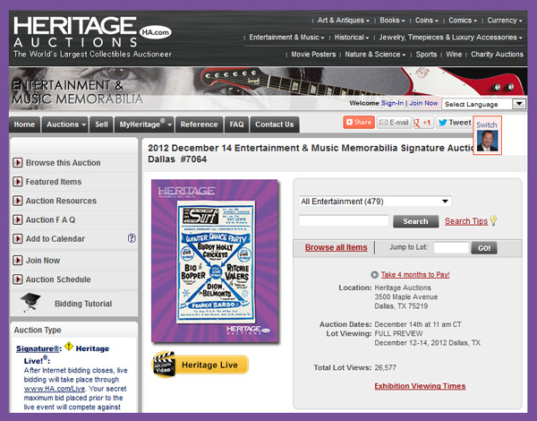 Heritage Auction Galleries 'Entertainment & Music Memorabilia Signature Auction' Catalog Online, Dallas Event December 14th