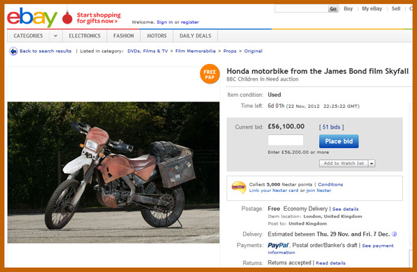 "Honda Motorcycle Movie Prop Used in ""James Bond: Skyfall"" in Charity Auction"
