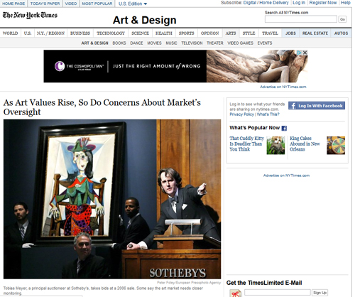 New York Times Article Highlights Issues of Auction Oversight & Transparency; Discusses Use of Chandelier and Sham Bids in Art Market