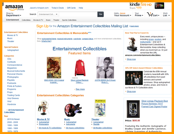 "Amazon.com Launches ""Entertainment Collectibles Store"", Puts Hollywood and Pop Culture Third Party Memorabilia Offerings Under New Marketplace Brand/Umbrella"