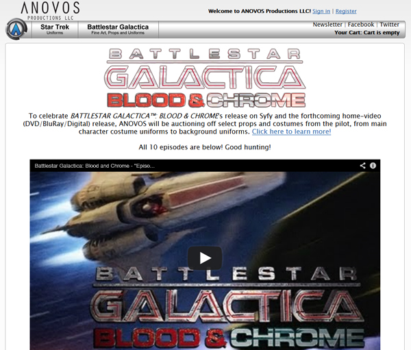 Anovos Launches Original Prop and Costume Auctions for SyFy's Battlestar Galactica Blood & Chrome Series