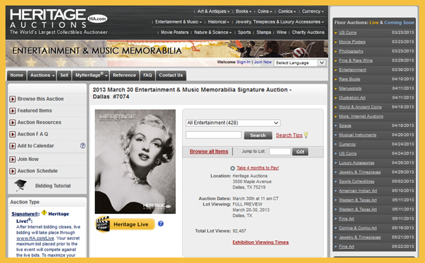Heritage Auction Galleries 'Entertainment & Music Memorabilia Signature Auction' Catalog Online, Dallas Event March 30th